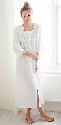 Cottonreal  Donna  100% Cotton Housecoat - Long White Ladies Cotton  Nightdress 368f34c84