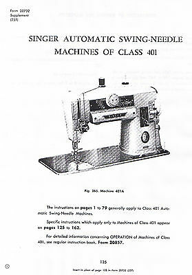 Singer Swing Needle Class 401 401A Sewing Machine Service Repair Manual Book