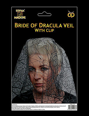 Halloween Bride of Dracula Veil Fancy Dress Accessory Prop FREE P&P