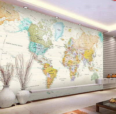 Watercolor HD World Map Wallpaper Decals 3D Art Print Mural Business Office