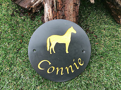 PERSONALISED HORSE STABLE DOOR HIGH QUALITY SMOOTH SLATE NAME PLATE  19cm