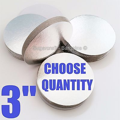 "3"" ROUND THIN CUT EDGE SILVER cake boards cards sugarcraft christmas tray"