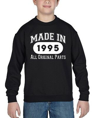 Made In 1995 Youth Crewneck All Original Parts 21th Birthday Gift Sweatshirts