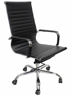 Desk Ergonomic Office Chair Leather High Back Black Executive Computer HC-8005