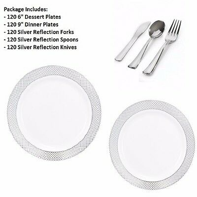 """600pc Party Set 120 Settings Dessert+ Dinner Plates+ Cutlery White/Silver """"Lace"""""""