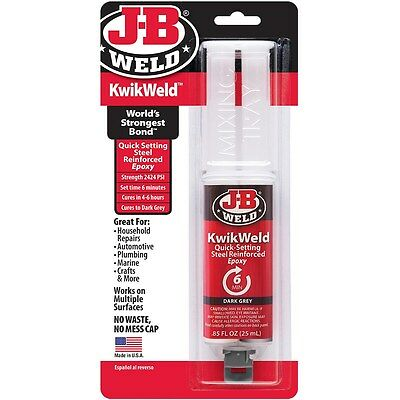 JB Weld 50176 KwikWeld Syringe Quick Setting Steel Reinforced Epoxy Dark Grey