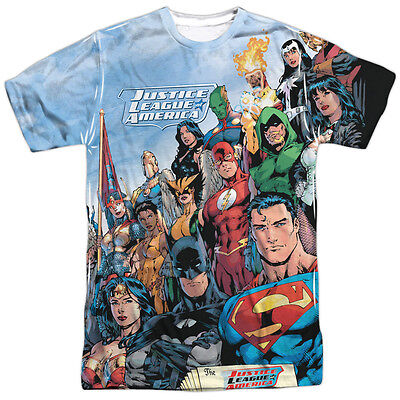 Justice League Of America Heroes Characters Big Print Poly Shirt S 3XL