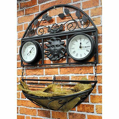 Decorative Wall Planter with Clock and Thermometer Black Powder Coated Finish