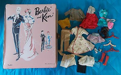 1963 Pink Barbie & Ken Mattel Ponytail Case With Assorted Clothes & Accessories