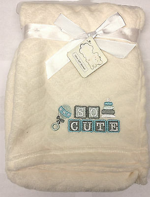 Snugly Baby Chevron Embossed with So Cute aplica Plush Blanket