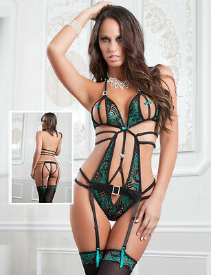 Sexy Black Green Floral Teddy Lingerie With Garter And Stocking 8-22