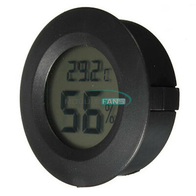 Digital Cigar Humidor Hygrometer Thermometer Round Black Face MF