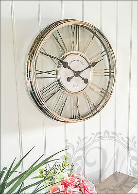 Silver Wall Clock Vintage Rustic Roman Numeral Large 45 cm Cut Out Chrome Effect