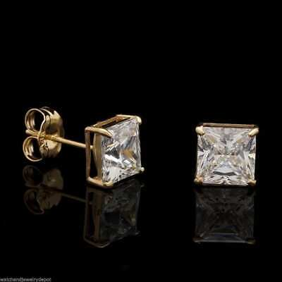 2Ct Created Diamond Princess Cut Solitaire Stud Earrings 14K Yellow Gold