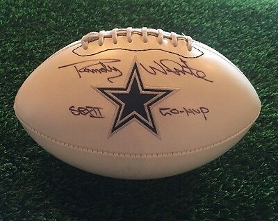 Randy White Dallas Cowboys Autographed White Panel Stat Ball W/ Sb Mvp