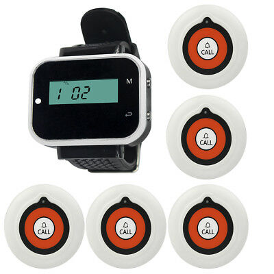 Wireless Waiter Calling Paging System Watch Receiver+5X Table Call Button Pager