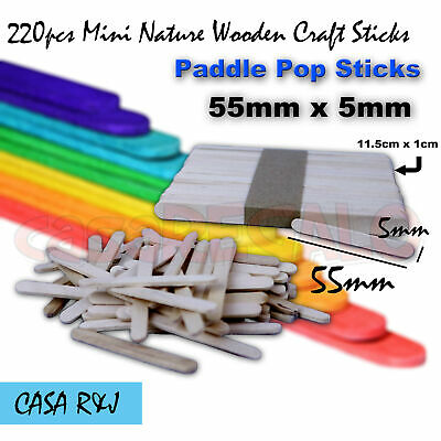 220 pc Mini Natural Wooden Craft Sticks Paddle Pop Sticks Ice Cream 55mm x 5mm
