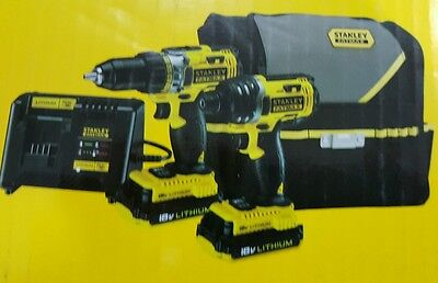 Stanley FatMax 18V, 2 Piece Drill Kit + 2x batteries +1 charger and bag
