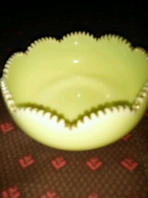 Yellow Vaseline Uranium Glass Berry Bowl Order of the Moose Herd NO 1