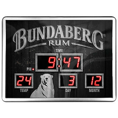 Bundy Bundaberg Rum Glass Digital Led Clock Date Time Temp Man Cave Bar Gift
