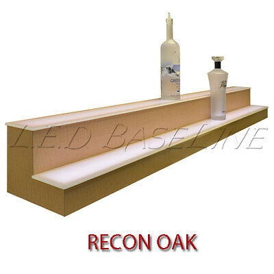 "70"" 2 Tier LED Lighted  Liquor Display Shelf - Oak Finish"