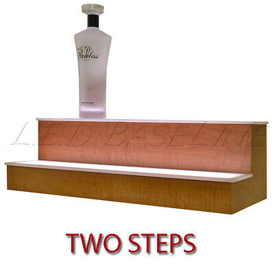 80 2 Tier LED Lighted Liquor Display Shelf Oak Finish