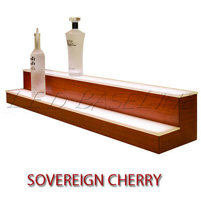 "70"" 2 Tier LED Lighted  Liquor Display Shelf - Cherry Finish"