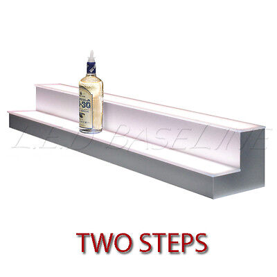 "24"" 2 Tier LED Lighted  Liquor Display Shelf - Stainless Steel Finish"