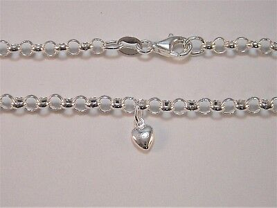 Genuine Solid 925 Sterling Silver Round Belcher Anklet Plus A Heart Charm