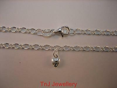 Genuine Solid 925 Sterling Silver Oval Figaro Anklet With A Silver Heart Charm