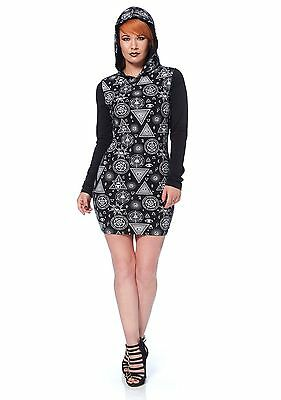 Punk Rave Hooded Mini Dress Womens Black Gothic Punk Occult Witch Bodycon Belt