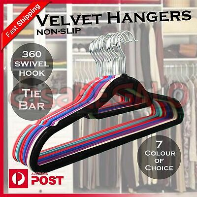 50x Coloured Coat Hanger Velvet Flocked NON SLIP Clothes Coat Hanger Anti SLIM