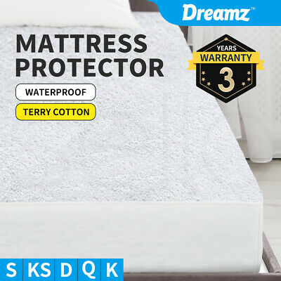 Mattress Protector Waterproof Fully Fitted Terry Cotton Sheet Cover All Size
