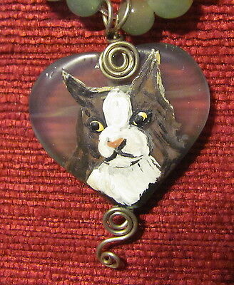 Cat - Norwegian Forrest - hand painted on heart shaped pendant/bead/necklace