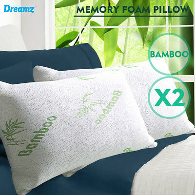 2x Luxury Memory Foam Bamboo Pillow  Fabric Fibre Cover 70 x 40 cm