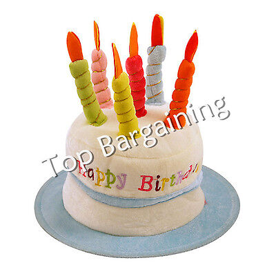 Happy Birthday Novelty Plush Cake Hats With Candles Party Hat Blue