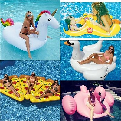 Giant Swan Flamingo Unicorn Pizza Pool Float Baby Swimming Ring Inflatable Raft
