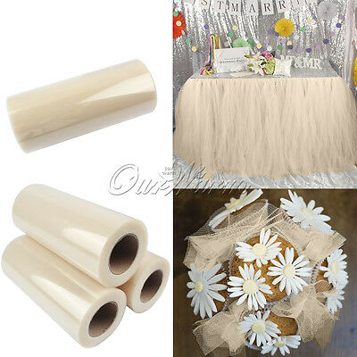 """6""""x25Yd Ivory TULLE Roll Tutu DIY Table Skrit for Weding Party Baby Shower Decor"""