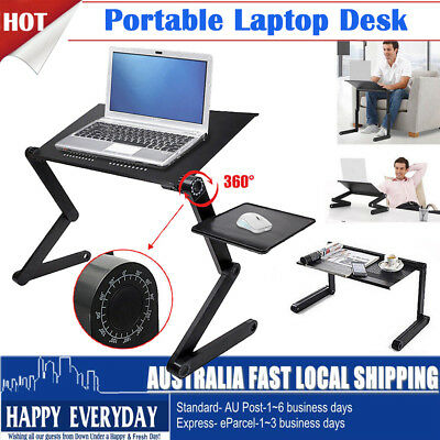 Portable Laptop Desk Notebook Stand Table Tray With Mouse Holder Sofa Bed Black