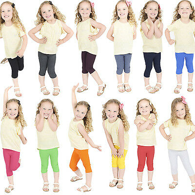 Children Kids Cropped Cotton Leggings 3/4 Length, Summer Dance
