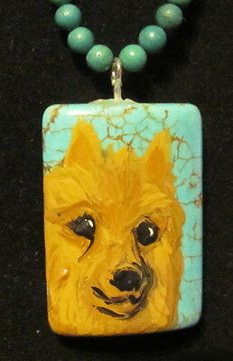 Australian Terrier hand painted on rectangular Turquoise pendant/bead/necklace