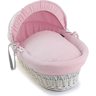 Luxury British Made Pink Moses Basket Replacement Covers/Dressing