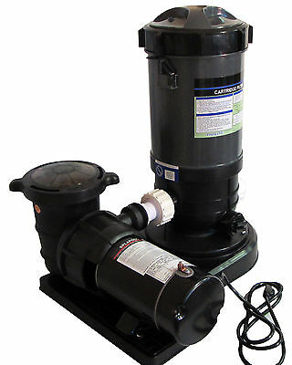 Above-Ground Swimming Pool Cartridge Filter System with 1 HP Pump