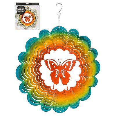 Hanging Stainless Steel Sun Catcher Wind Spinner Butterfly 12""