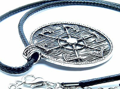 Viking Axe Kolovrat, Thunder Shield of Perun Pendant, Black Cord.