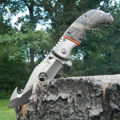 "9"" ELK RIDGE CAMO WOOD Gut Hook SPRING ASSISTED Hunting Folding POCKET KNIFE NEW"