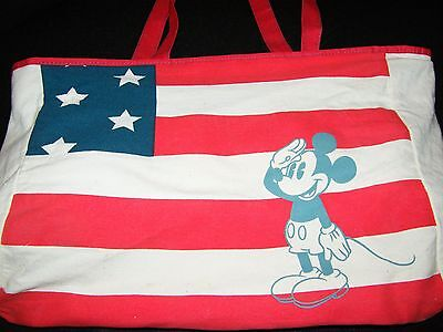 TOTE BAG American Flag DIsney Mickey Mouse Saluting Silk Screen Red White Blue