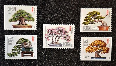 2012USA #4618-4622 Forever Bonsai Trees - Set of 5 Singles From Booklet - Mint