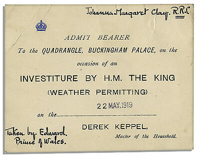 King George V Ticket to 1919 Investiture at Buckingham