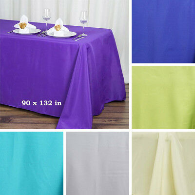 "20 pcs 90x132"" RECTANGLE Polyester TABLECLOTHS Wholesale Wedding Linens Supplies"